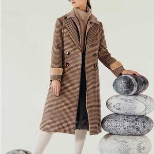 wool coat chocolate plaid